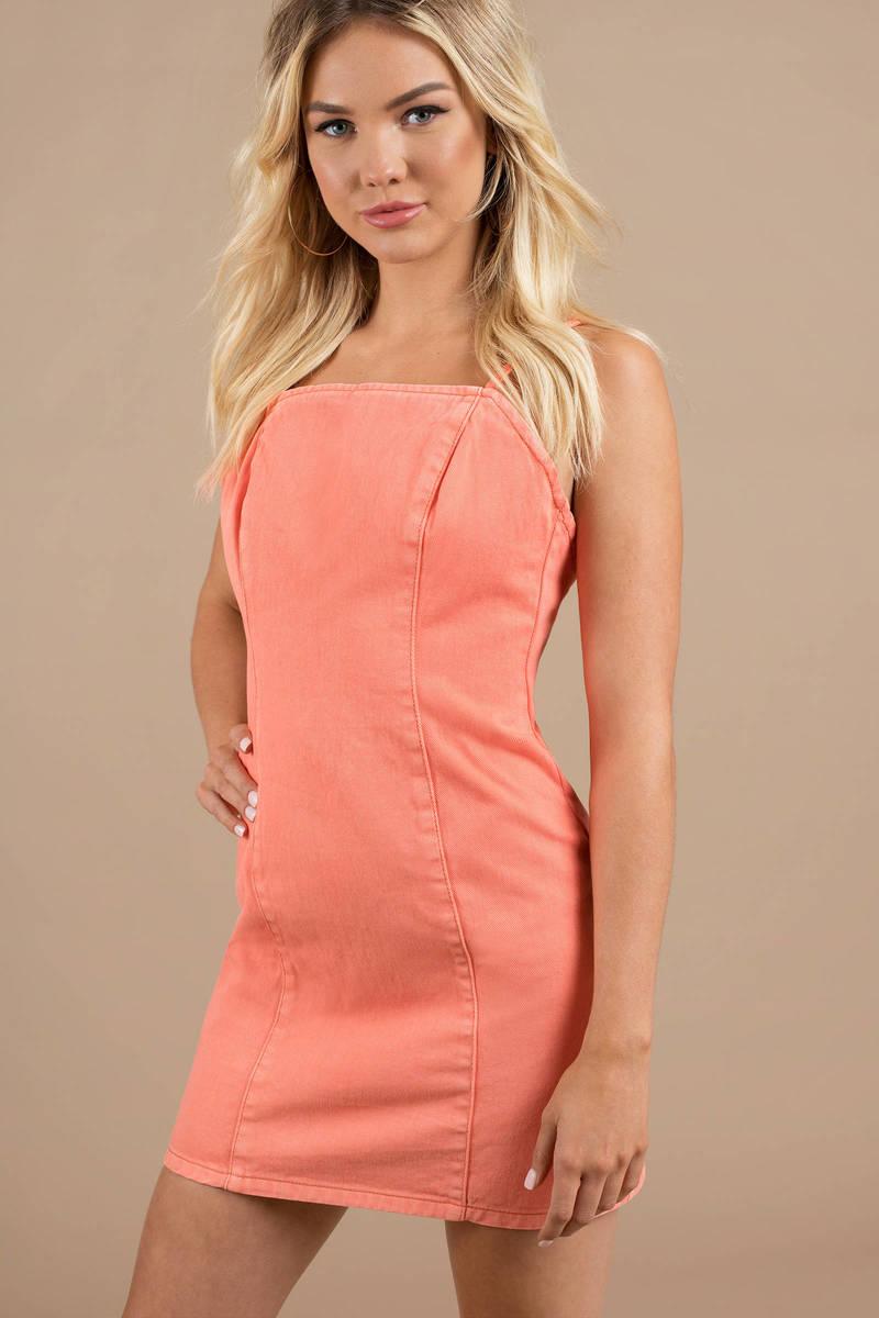 3b19265ef08 Orange Minkpink Bodycon Dress - Bright Dress - Orange Denim Dress ...