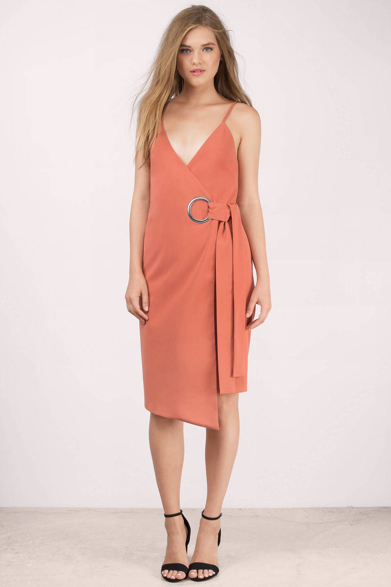 Cameo Cameo On The Line Burnt Sienna Wrap Dress
