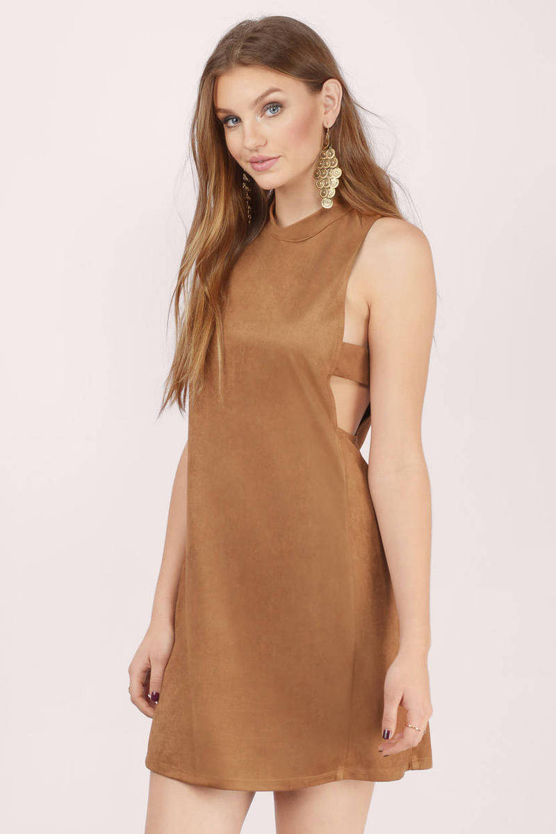 A Bit On The Side Camel Faux Suede Shift Dress