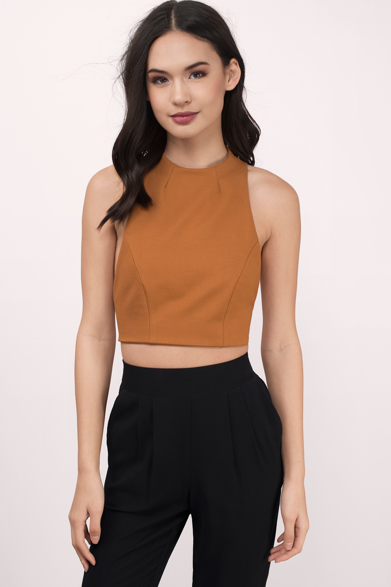 f2e864734969 Cute Camel Crop Top - Brown Top - Mock Neck Top - Camel Crop Top ...