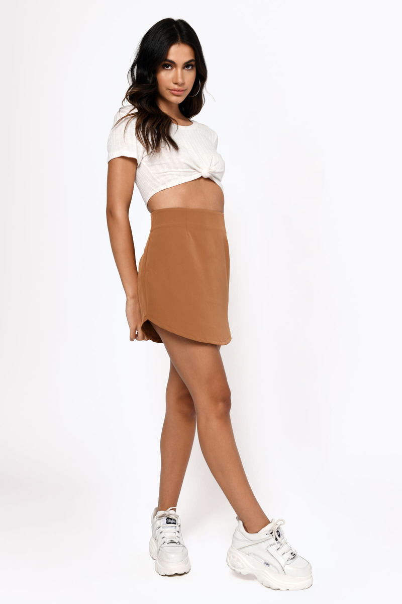 Celise Camel Mini Skirt