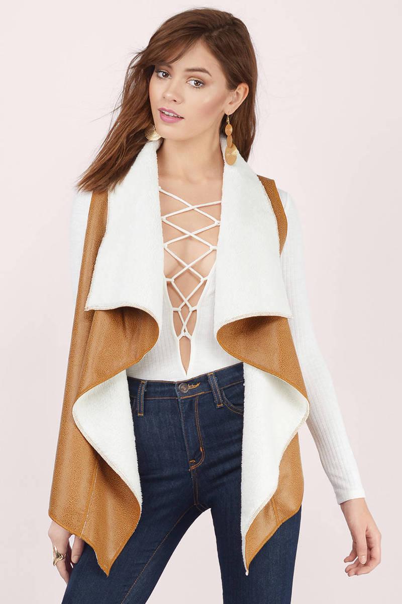 Stacii Camel & Cream Shearling Vest