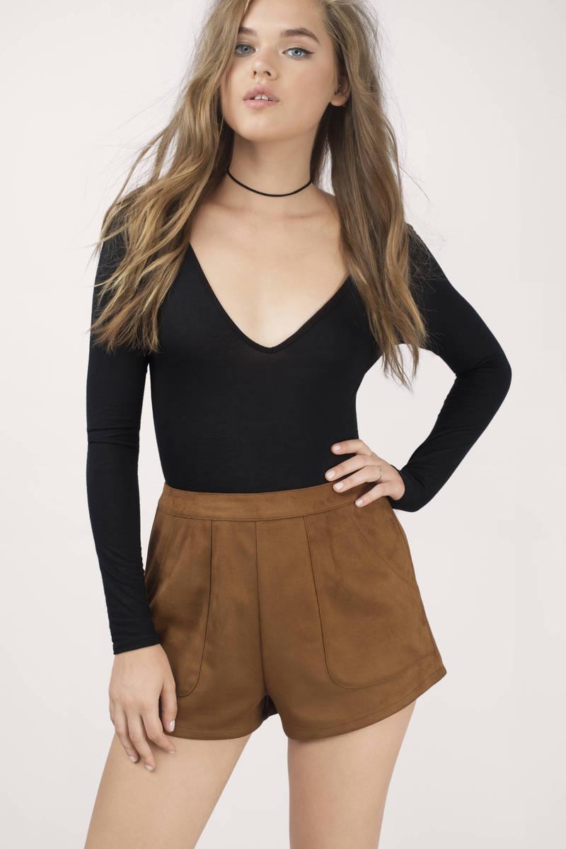 Elise Camel Faux Suede Shorts
