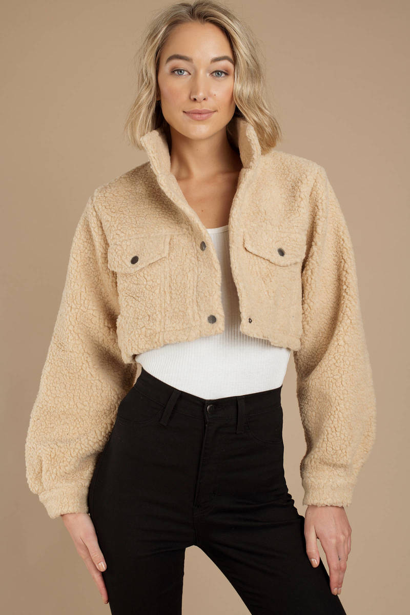 19d82bbf0 Keeping Score Faux Shearling Cropped Jacket