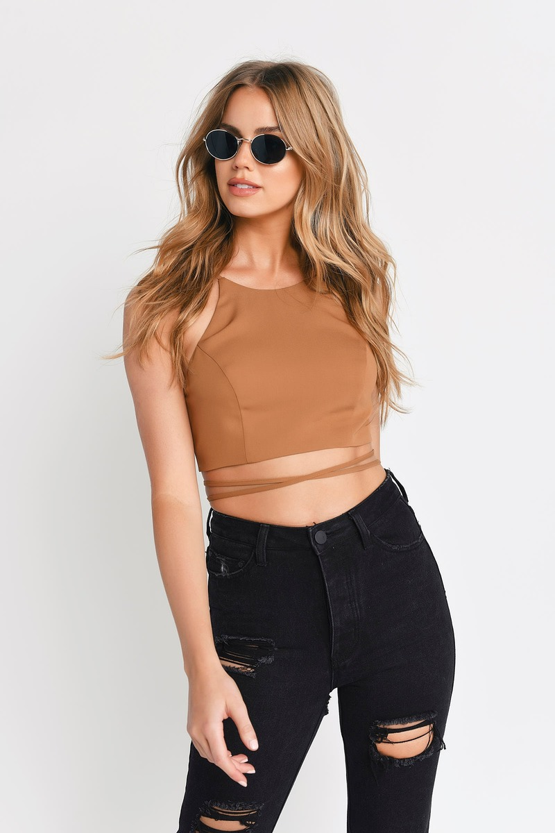 5cb7d6b1cac47 Camel Crop Top - Brown Top - Light Brown Shirt - Crop Top -  9