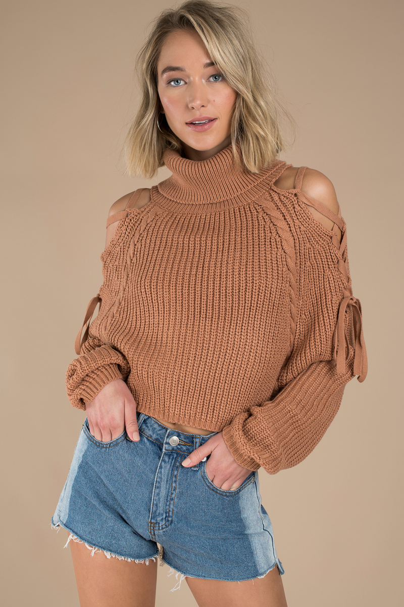 746cc785f9 Cute Tan Sweater - Cropped Ribbed Sweater - Tan Turtle Neck Knit ...