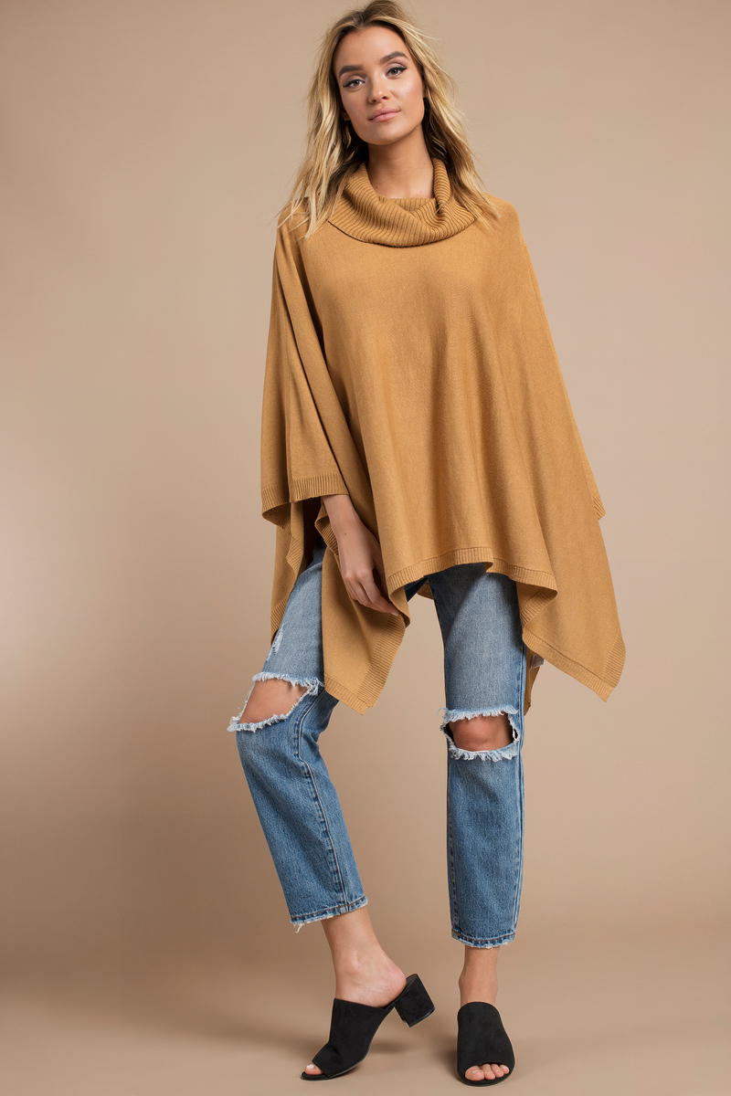 Cheap Camel Sweater - Cowl Neck Sweater - $22.00
