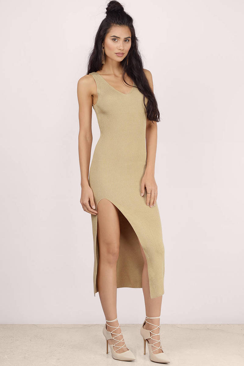 a06d0e150e Trendy Camel Midi Dress - High Slit Dress - Midi Dress -  16