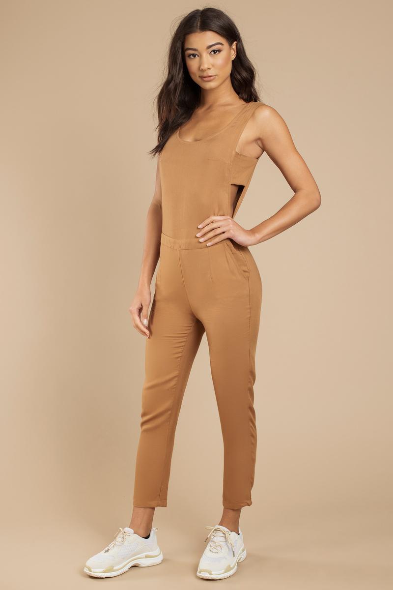 Sidebar Camel Jumpsuit