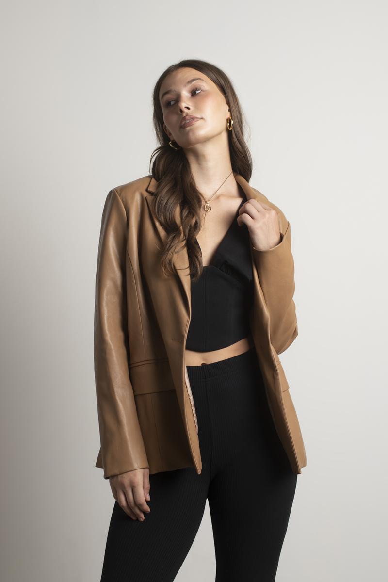 faux leather blazers