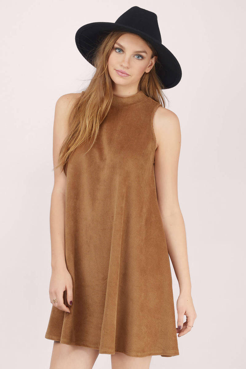 Sing For Me Camel Faux Suede Shift Dress