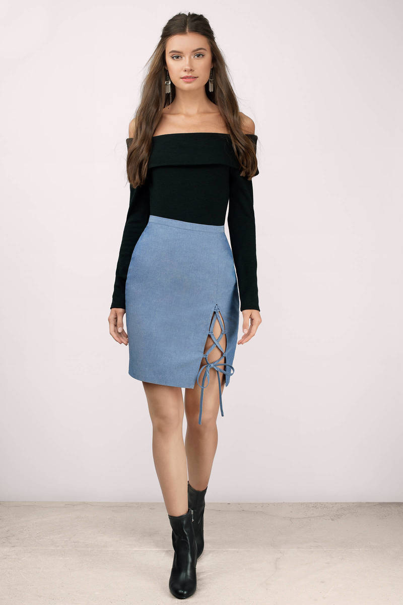 The Jetset Diaries Berber Chambray Chambray Skirt