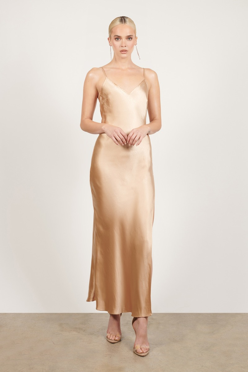 Angel Of Mine Satin Slip Maxi Dress in Champagne