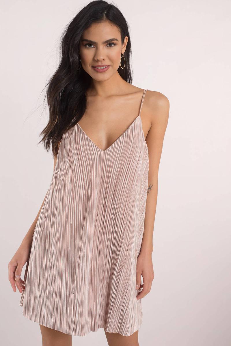 Sexy Beige Shift Dress - Pleated Satin Dress - Beige Mini Dress ...