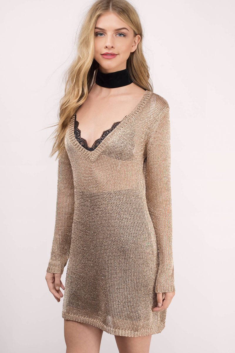 somedays lovin Somedays Lovin Star Searching Champagne Sheer Metallic Knit Dress