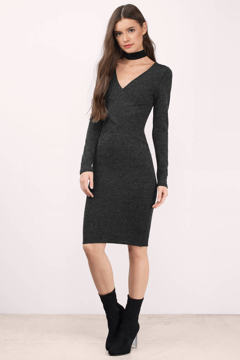 Bring Me Back Charcoal Ribbed Midi Dress