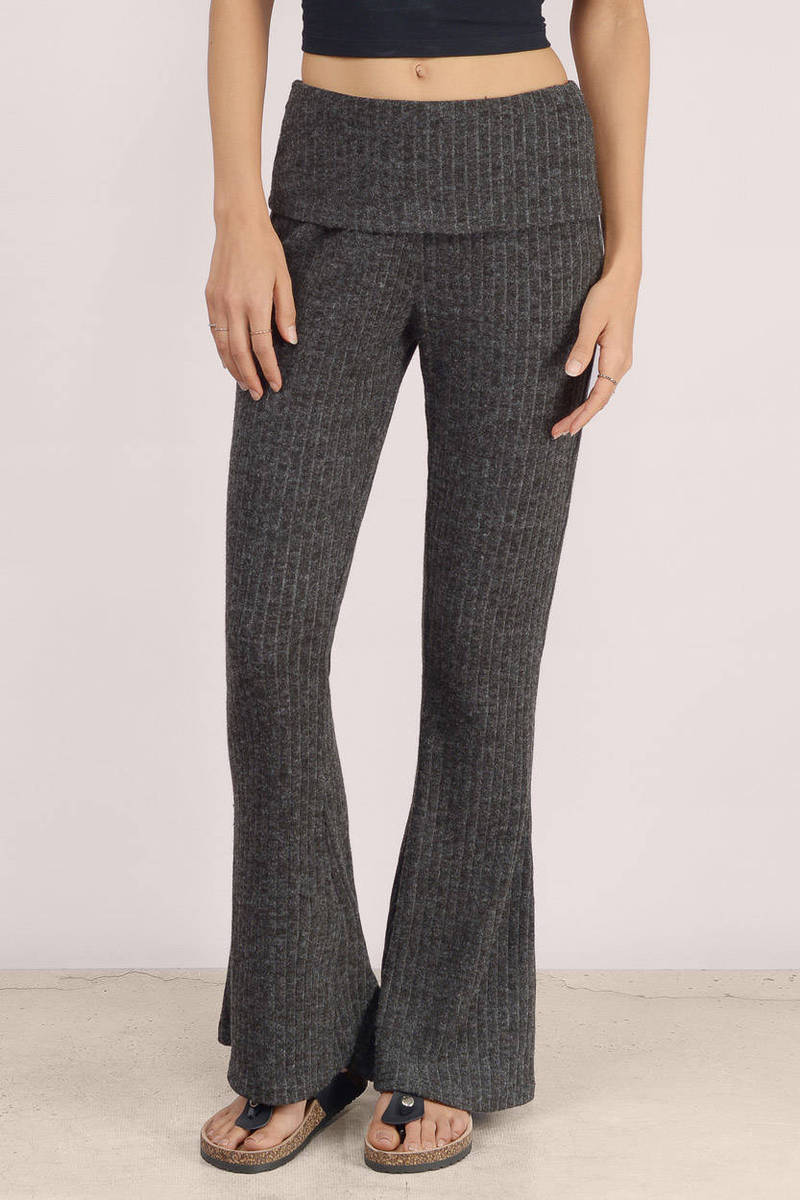 Meadow Charcoal Ribbed Lounge Pants