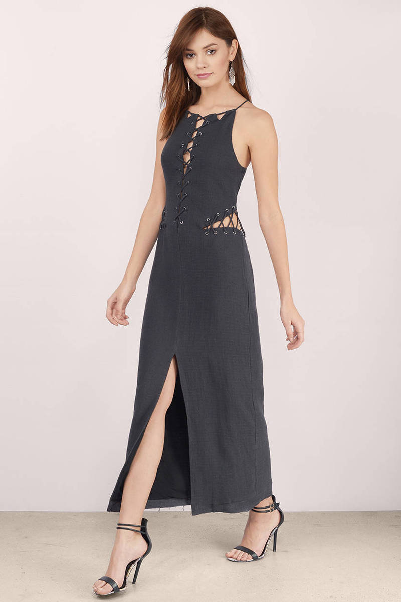 Stevie May Stevie May The Quick Sparrow Charcoal Maxi Dress