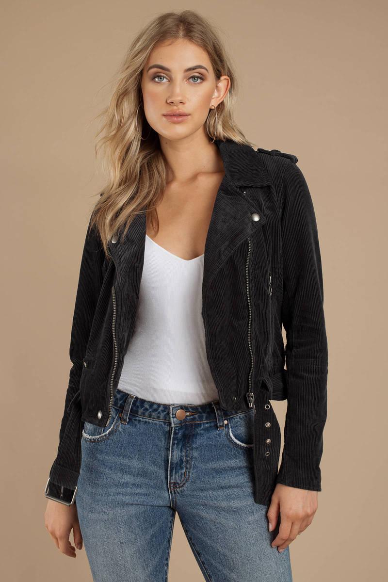 af976fdccfd Black Blank Nyc Jacket - Moto Jacket - Black Corduroy Jacket -  108 ...