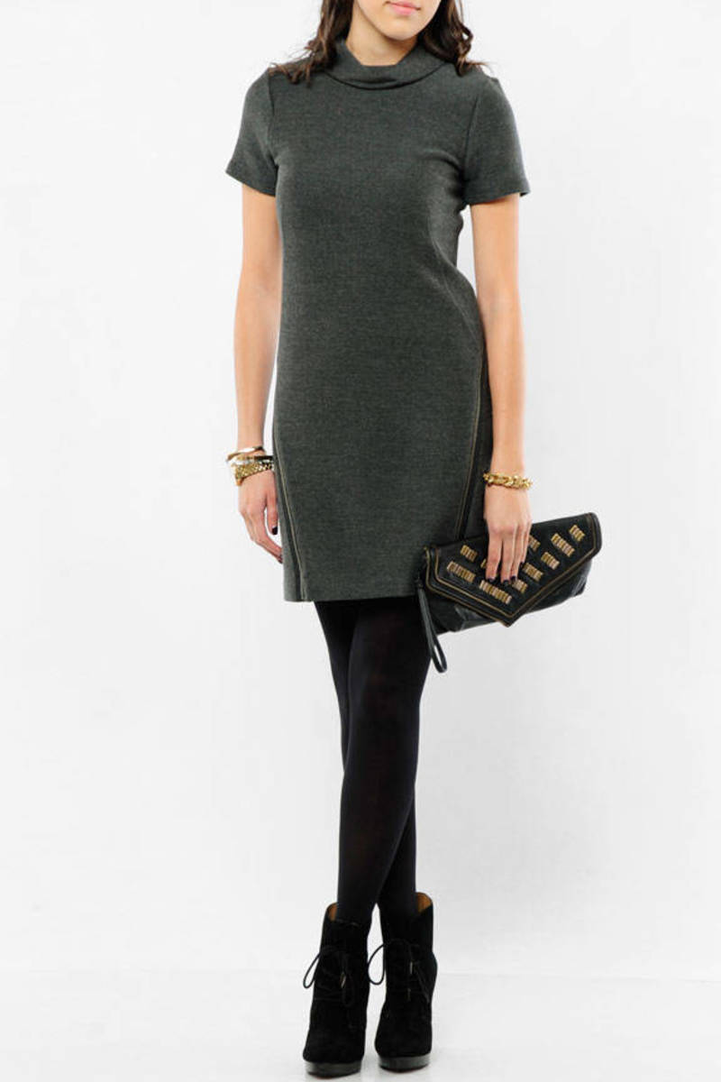 d0adc44f39 Grey Theory Mini Dress - Cowl Neck Dress - Grey Winter Dress -  88 ...