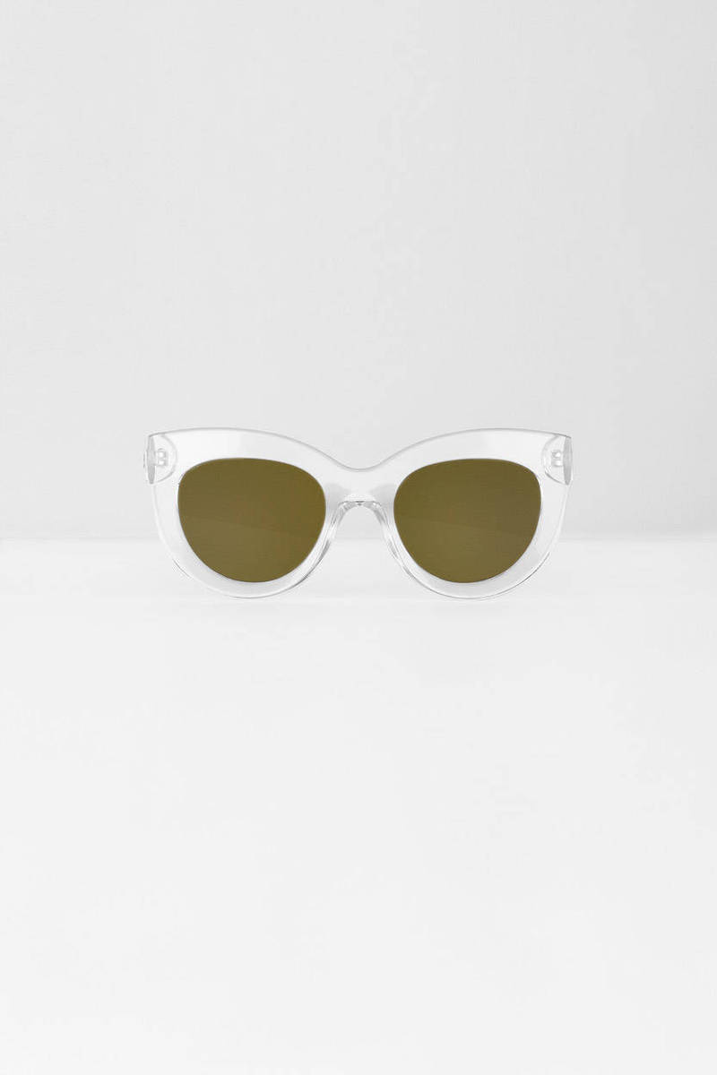QUAY Quay Jinx White Shiny Oversized Sunglasses