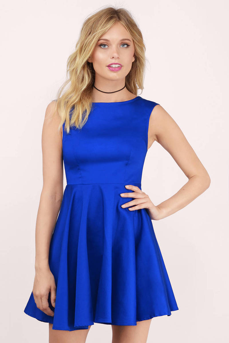 32d04fc31f Sexy Cobalt Skater Dress - Boat Neck Dress - Skater Dress -  13 ...