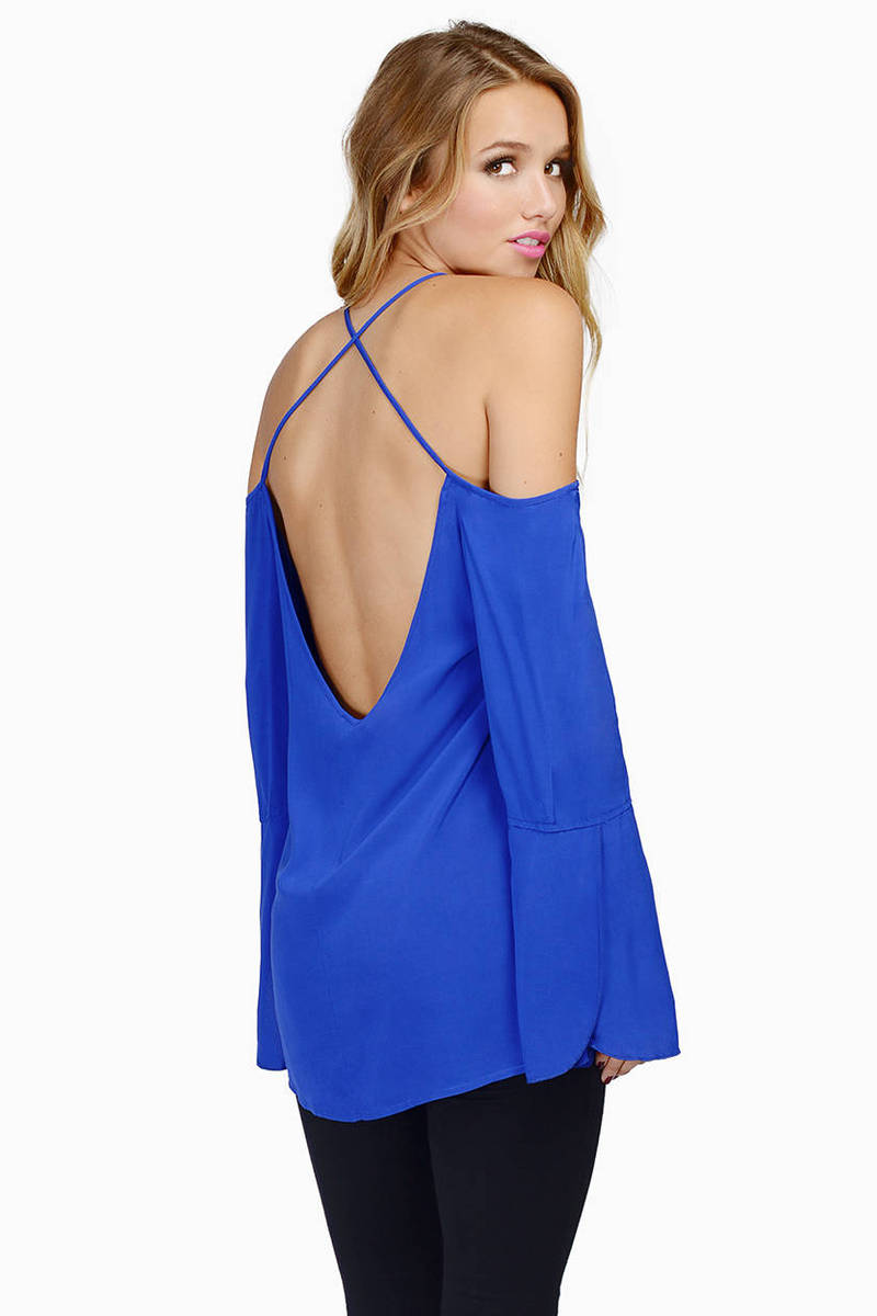 Crossing X's Cobalt Blouse