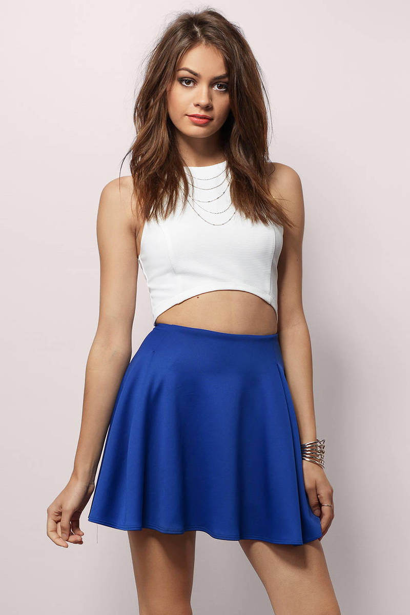 Drifting Away Together Cobalt Skater Skirt