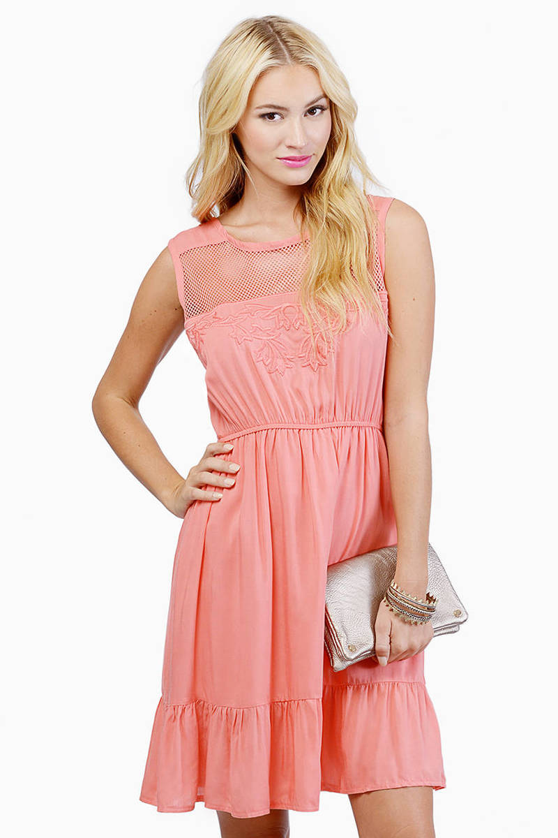 All I Need Coral Skater Dress