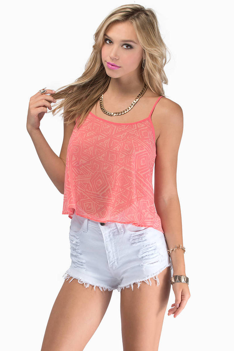 Tank Top Fashion Model New Tip Tumblr Girl Tumblr: Coral Tank Top