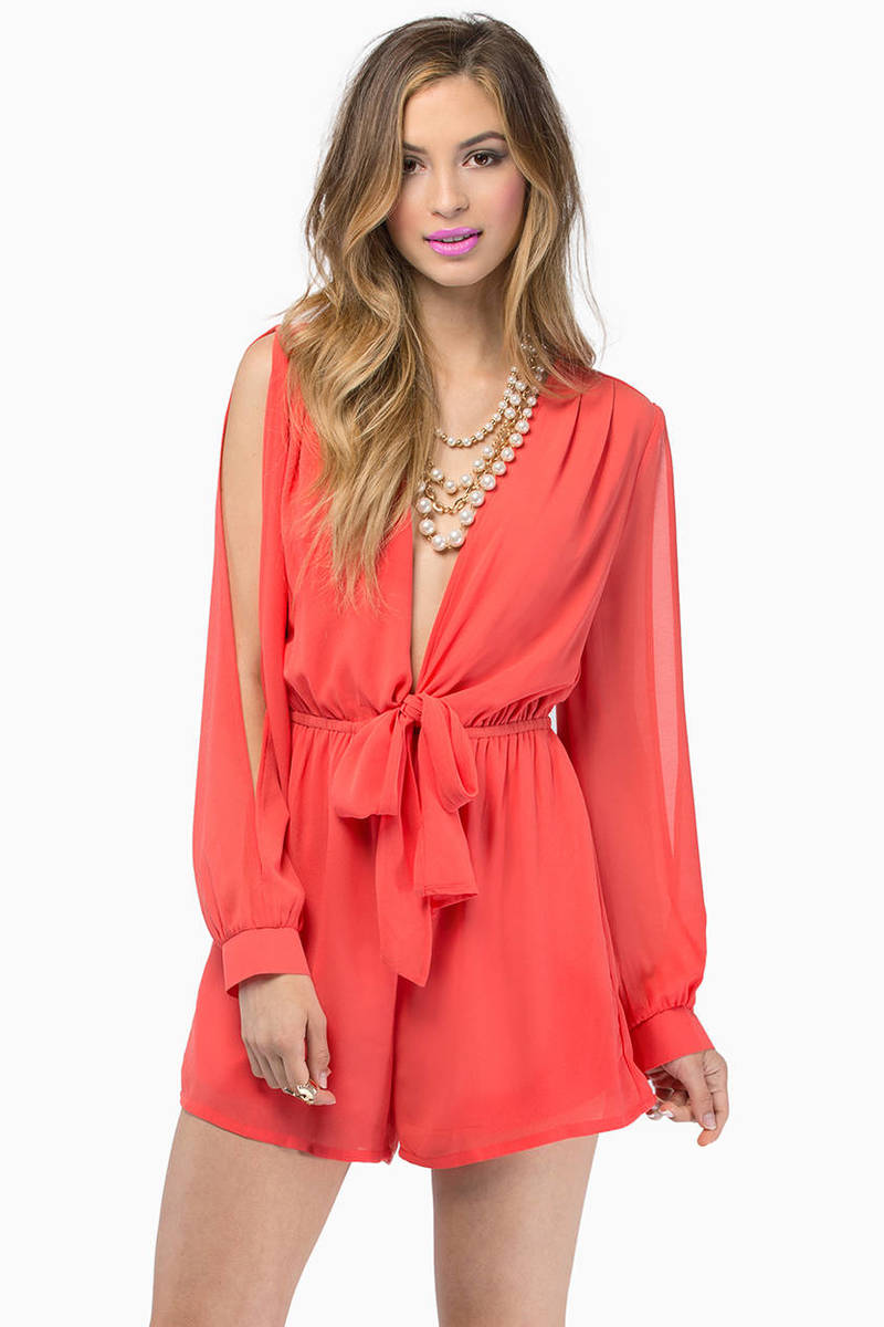 Calypso Coral Plunging V Long Sleeve Romper