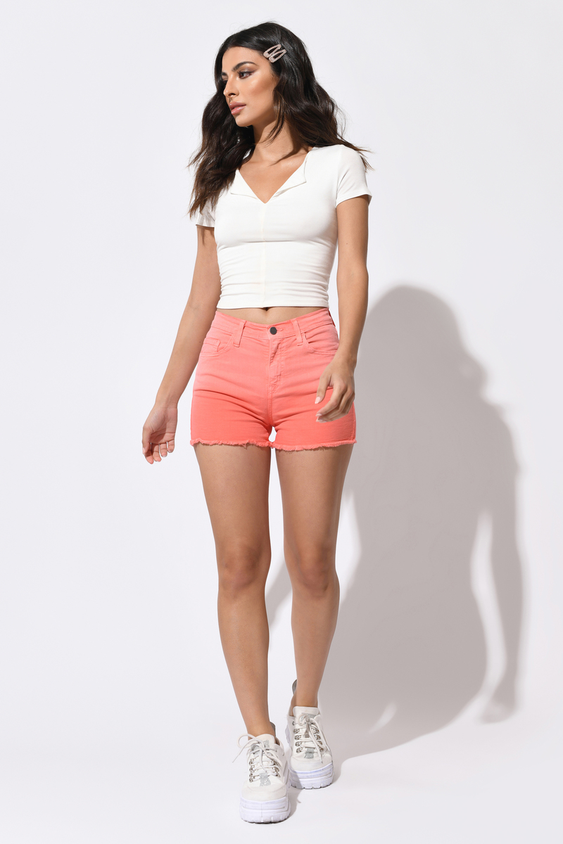 Dipped Coral Denim Shorts