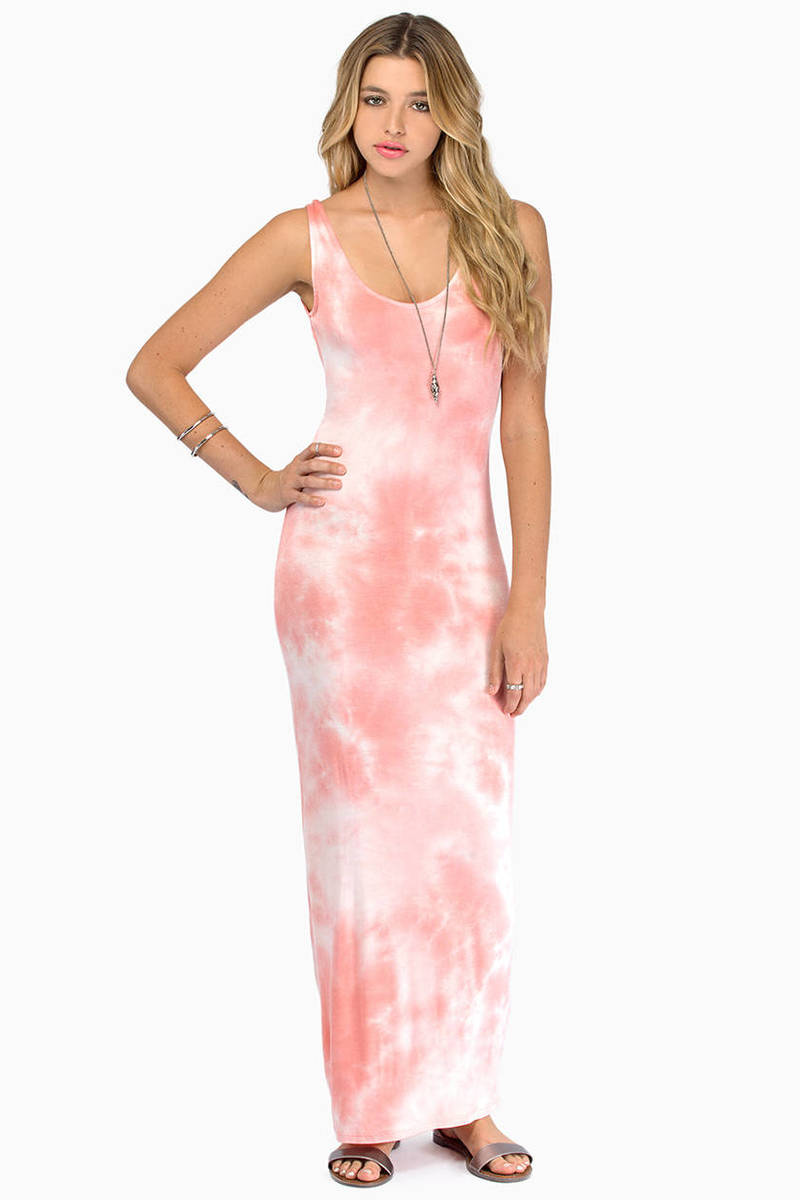 Do Or Dye Coral Tie Dye Maxi Dress