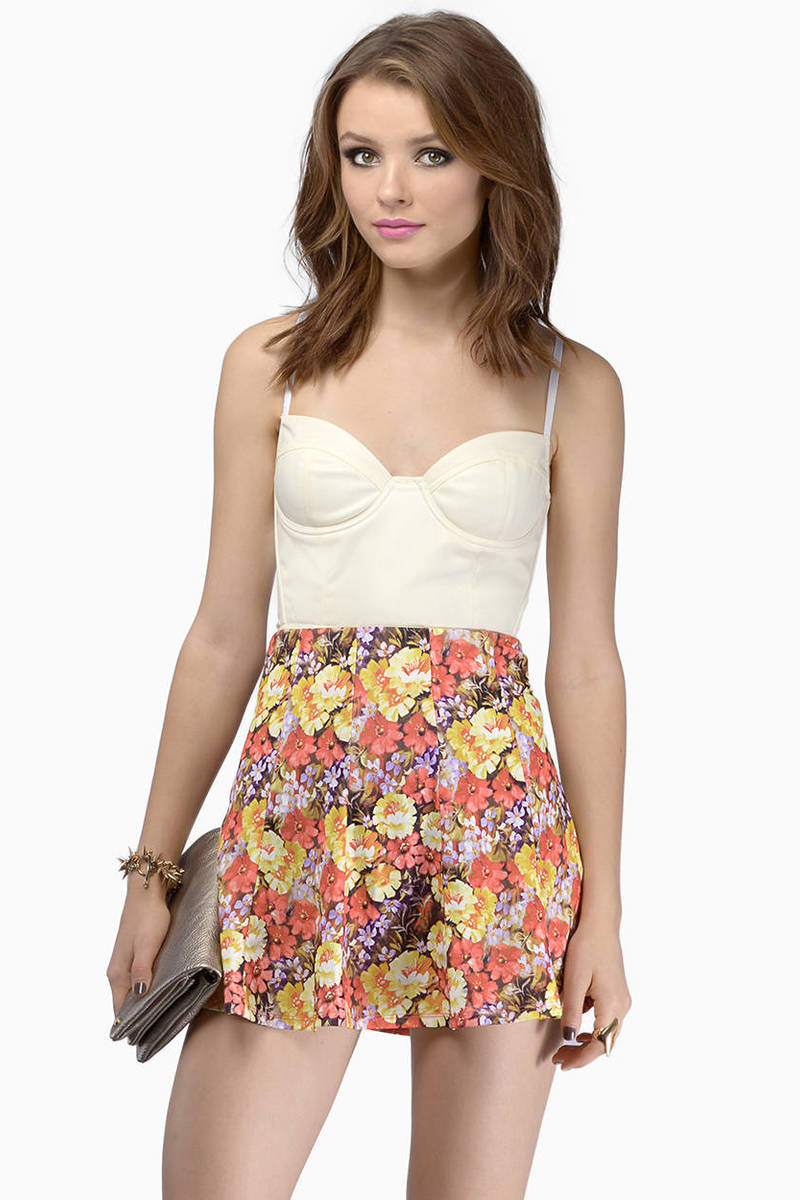 Spring Time Coral Floral Skirt