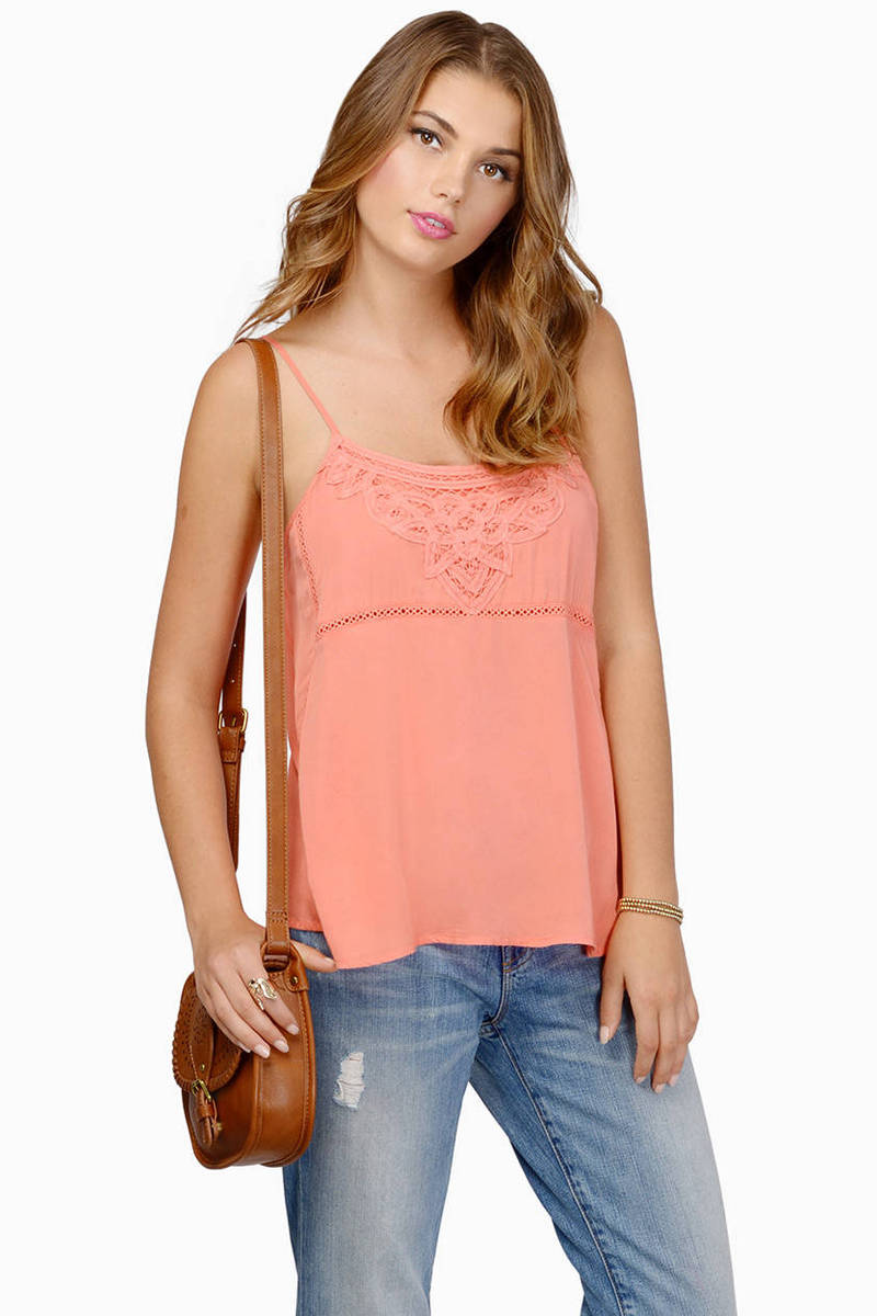 Love My Lace Coral Tank Top