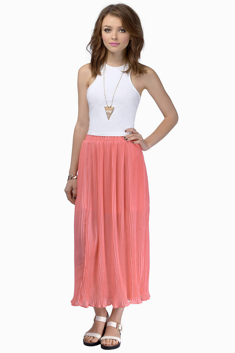 Pleat The Way Coral Maxi Skirt
