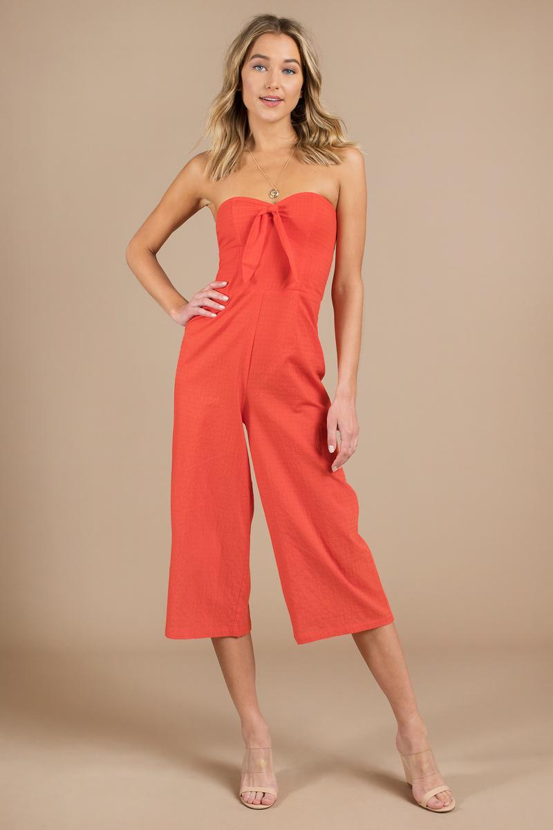 013912bf5b2 Orange Minkpink Jumpsuit - Strapless Jumpsuit - Orange Bow Jumpsuit ...
