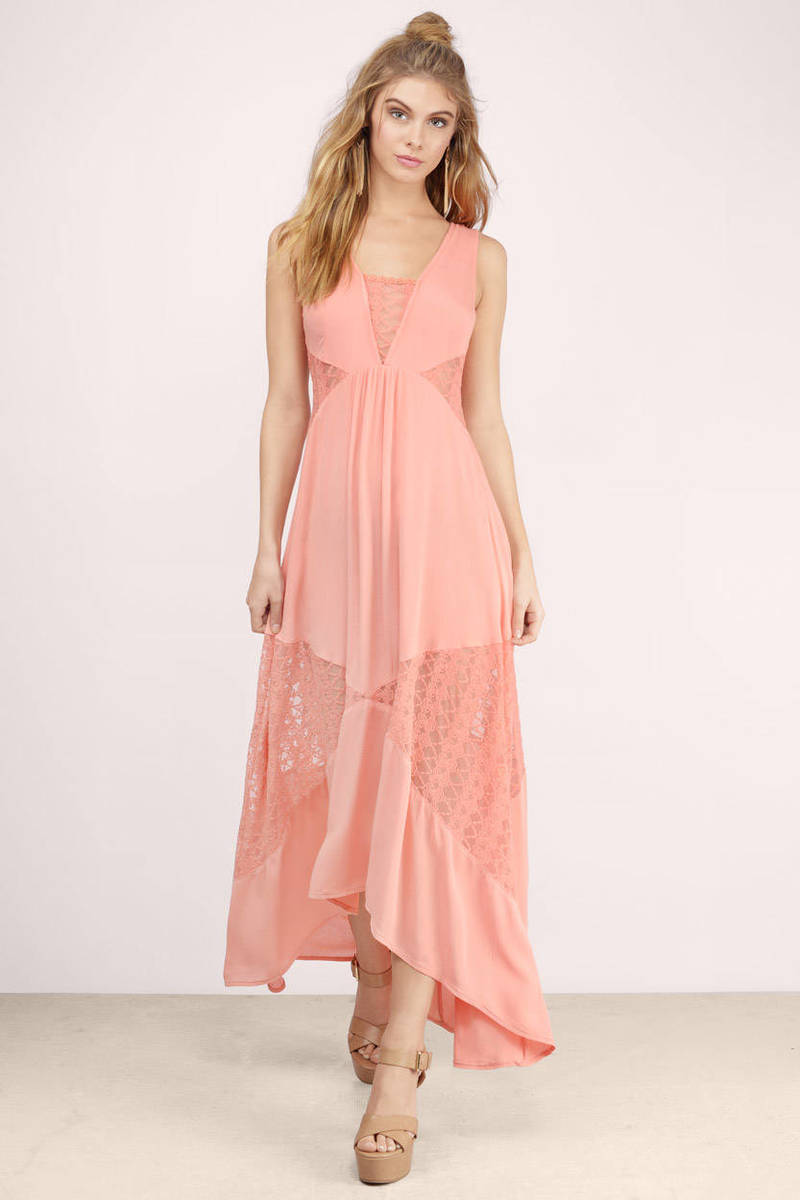Social Butterfly Coral Lace Patterned Maxi Dress