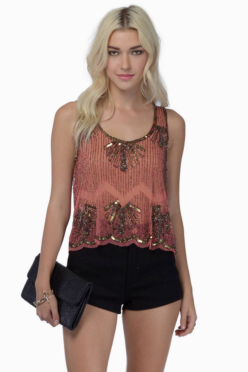 Tinseltown Beaded Top