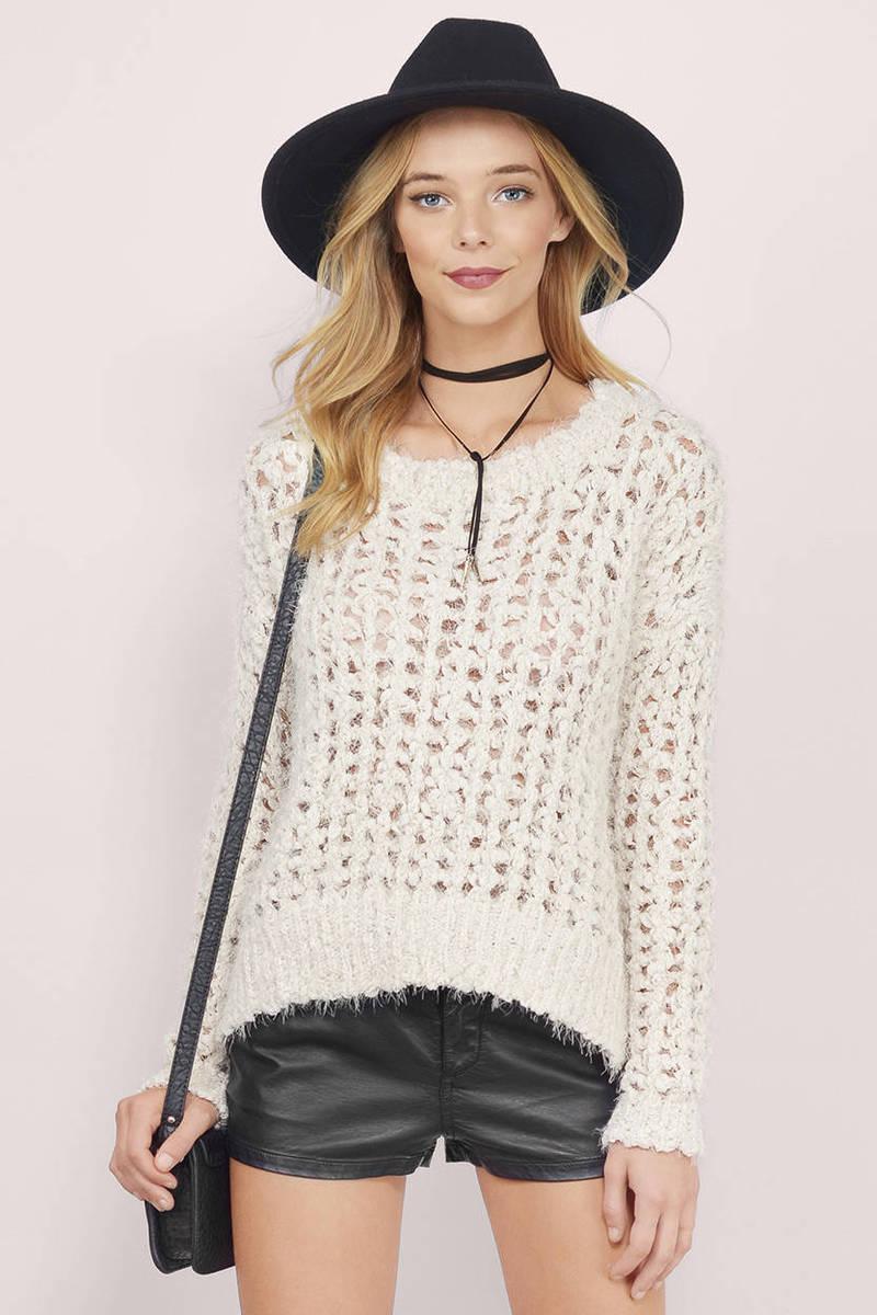 White Sweater Yarn Knit Sweater White Waffle Knit Cardigan Kr