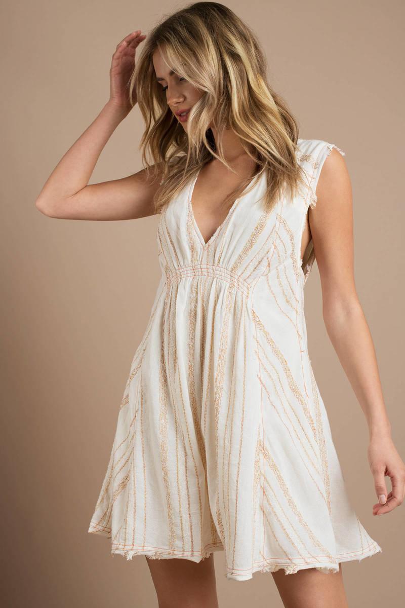414f6fdc37d3 Cute Cream Mini Dress - Smock Dress - Cream Flowy Dress -  76