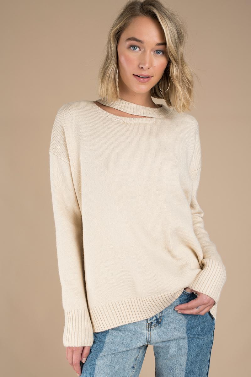 3a92ff8fc7d7 Pretty Cream Sweater - Long Sweater - Cream Slit Sweater -  27
