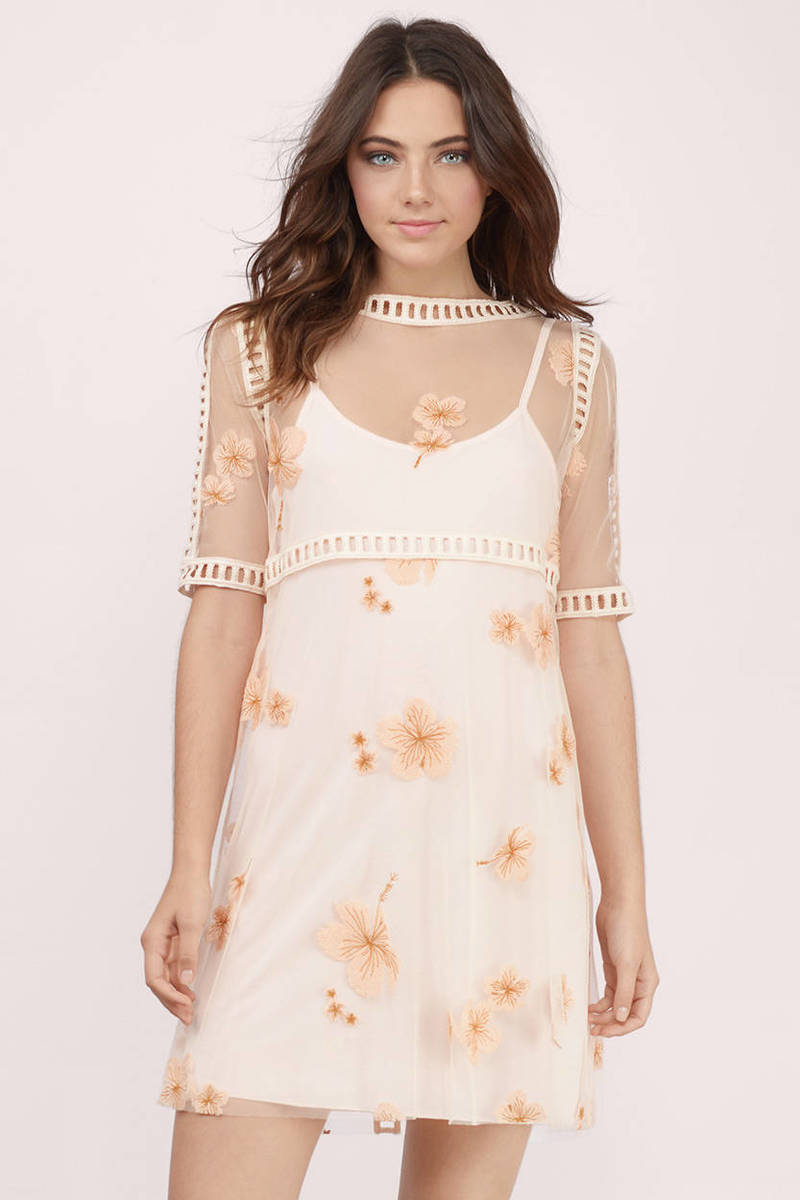 Trendy Cream Shift Dress - Nude Dress - Lace Dress - $37.00