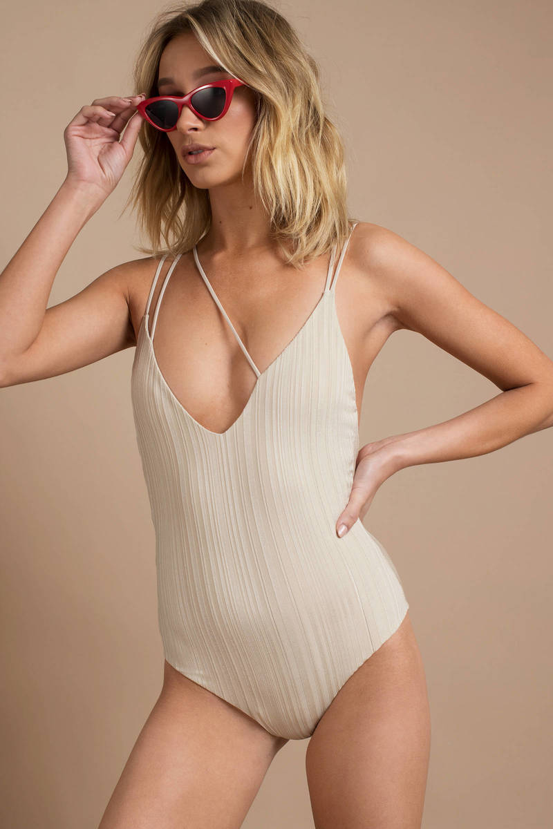 7a388247ebb Tavik Cream One Piece - Cross Front Swimsuit - Cream High Leg Swim ...