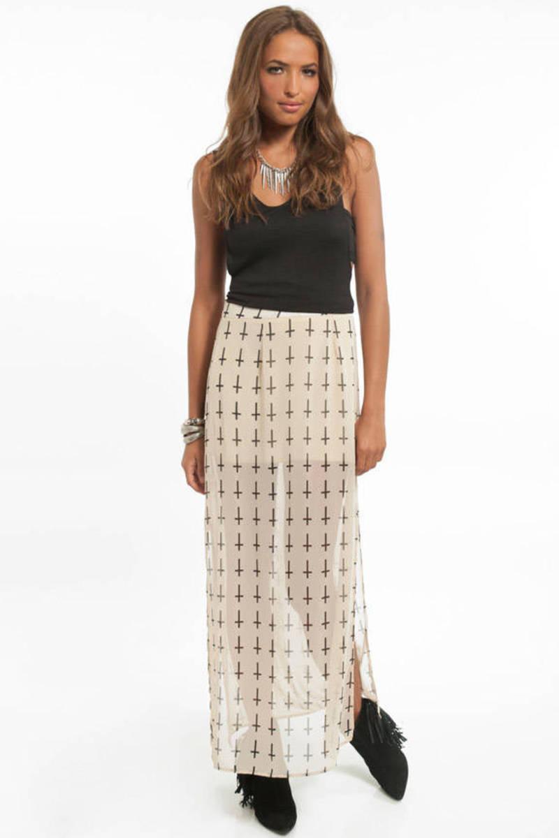 Trendy Cream Skirt - White Skirt - Cross Print Skirt - Cream Skirt ...
