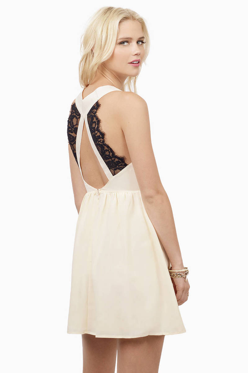Back Cream Lace Skater Dress