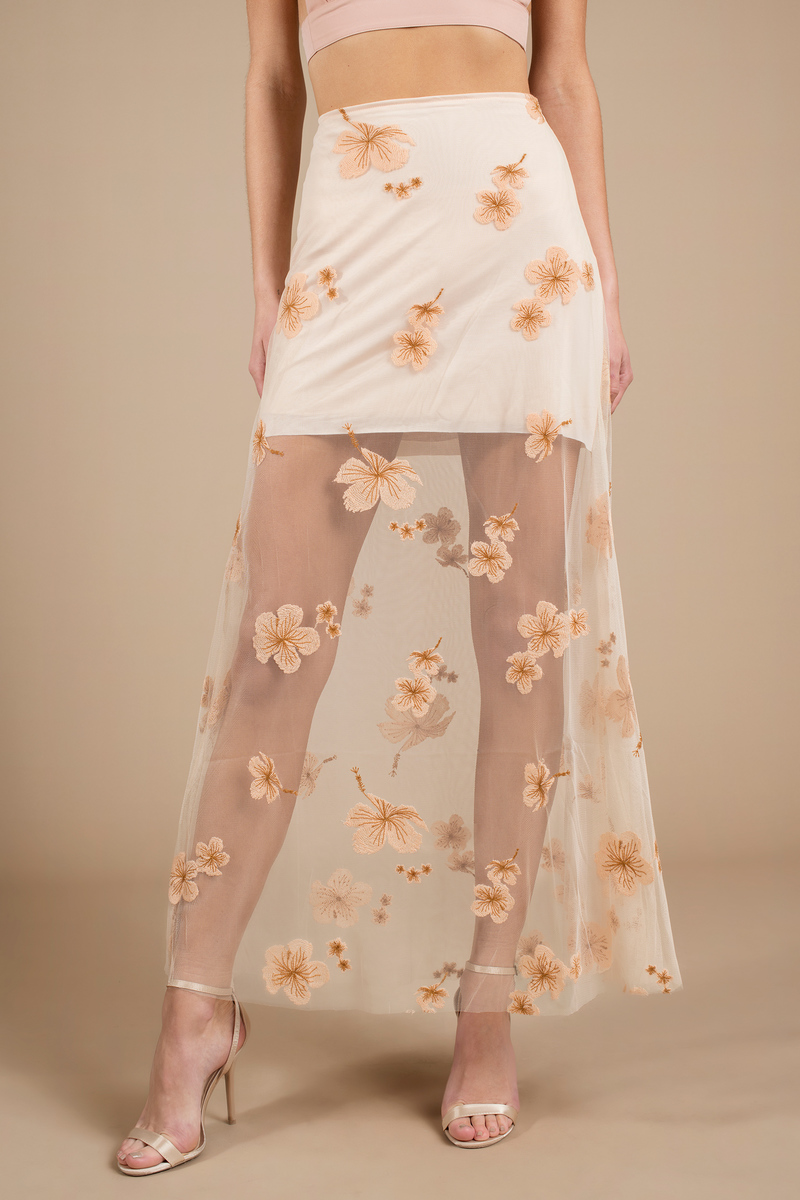 Delilah Cream Maxi Skirt