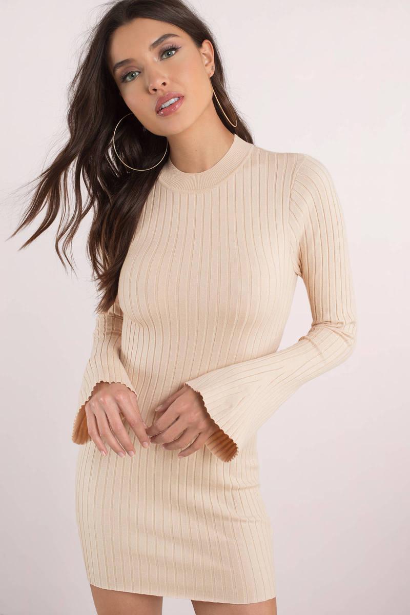 3bc7005fefbc Beige Bodycon Dress - Bell Sleeve Dress - Beige Sweater Dress -  15 ...