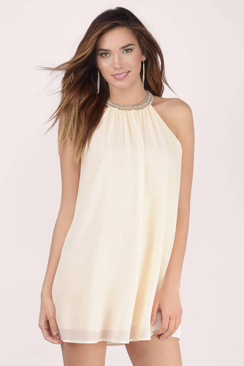 Enaya Cream Chiffon Shift Dress