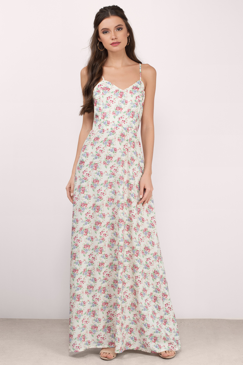 In My Secret Garden Cream Floral Floral Maxi Dress